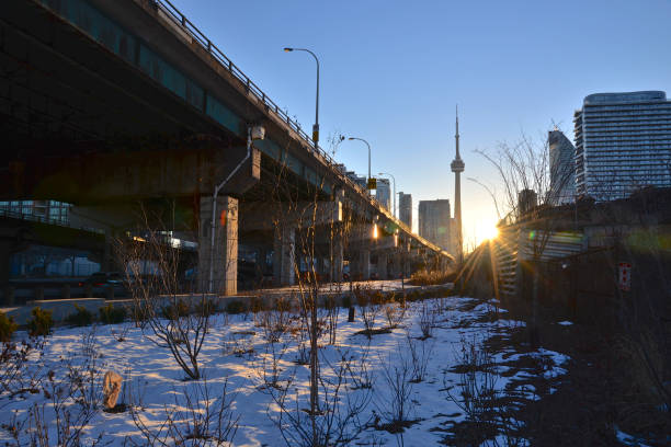 traffic in downtown Toronto with flyover bridges stock photo