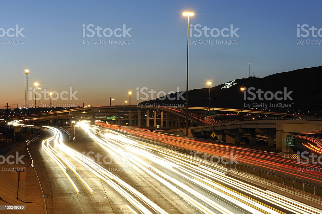 Traffic in El Paso, Texas at Dusk stock photo