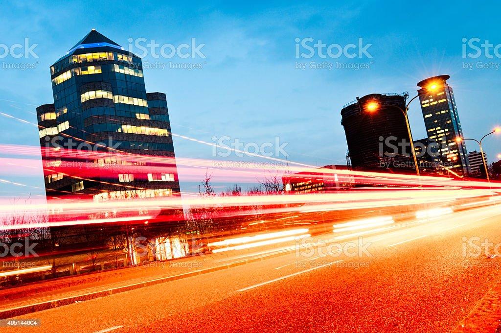 Traffico nel quartiere finanziario, Brescia, Italia - foto stock