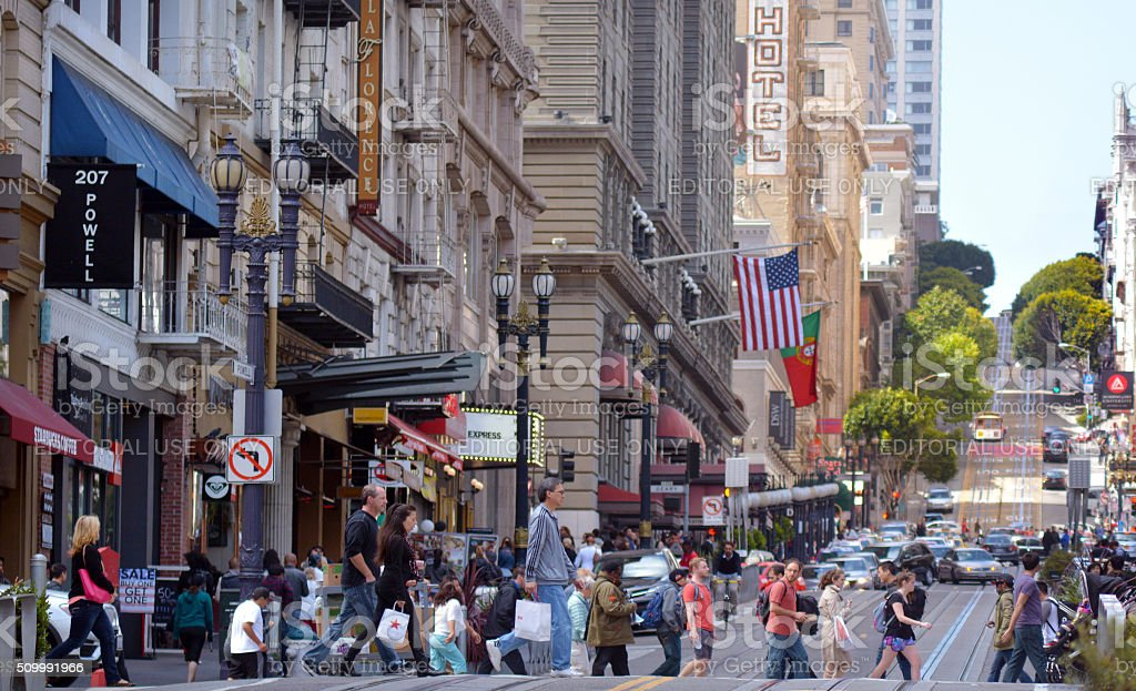 Traffic in Financial District of San Francisco CA stock photo