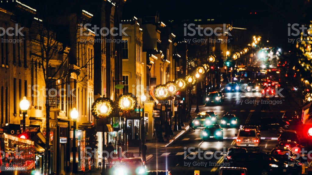 Traffic in Georgetown, Washington DC stock photo
