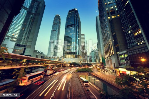 820883024 istock photo traffic in Hong Kong at sunset time 505252741