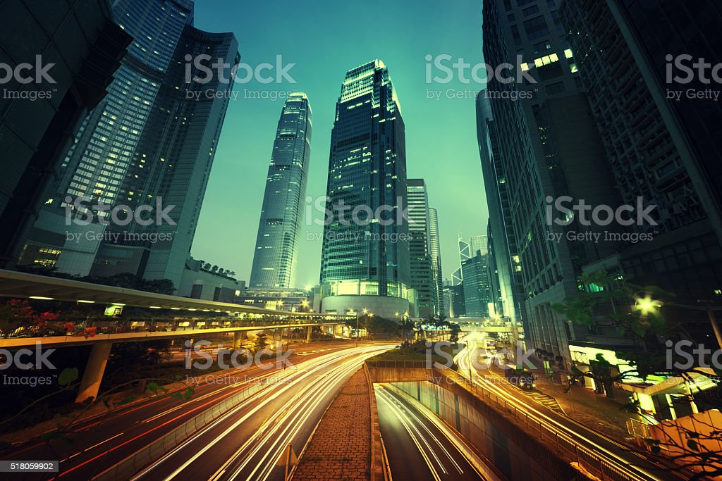 traffic in Hong Kong at sunset time stock photo
