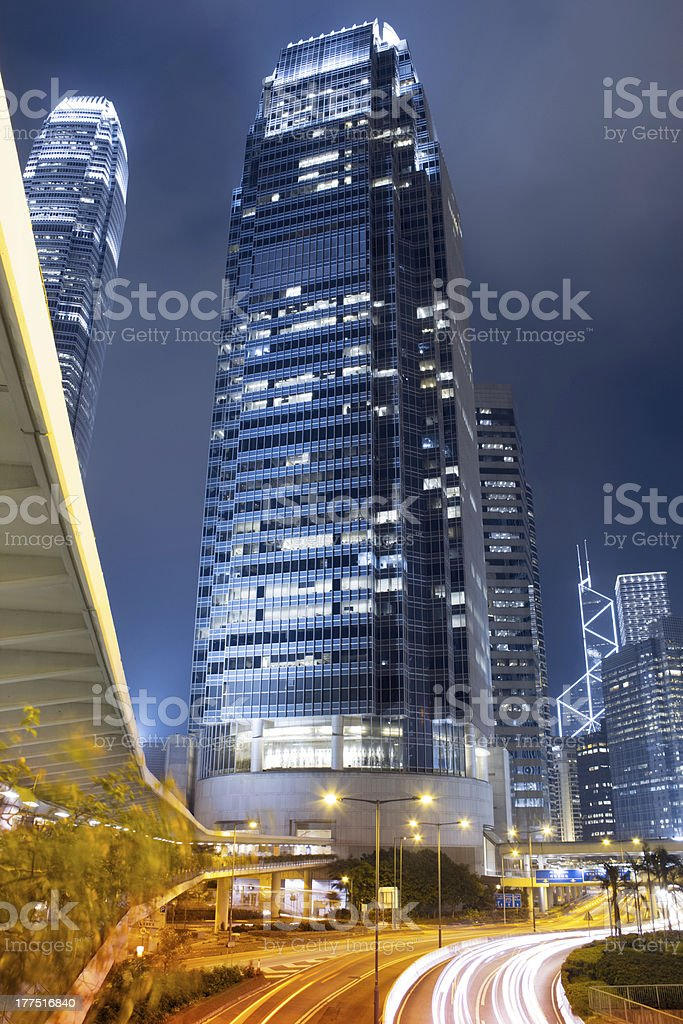 Traffic in Hong Kong Central at Night royalty-free stock photo