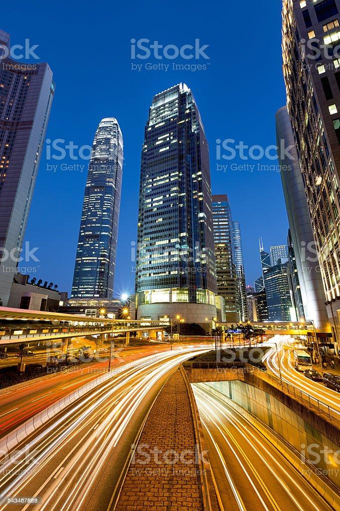 Traffic in Hong Kong City  at Night stock photo