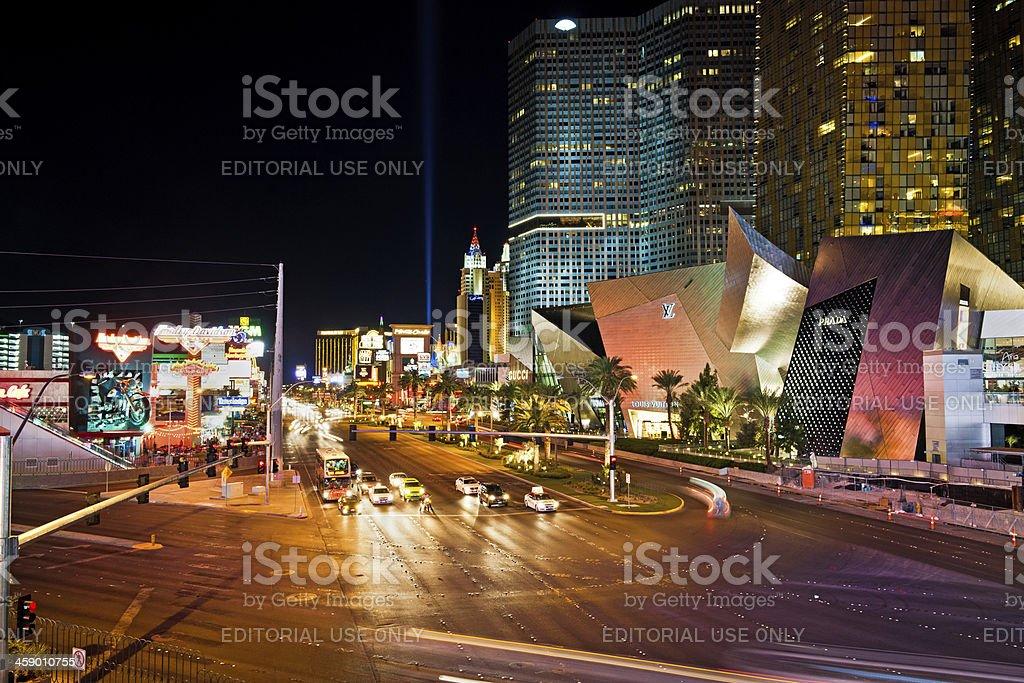 Traffic in Las Vegas City Center at Night, Nevada, USA royalty-free stock photo