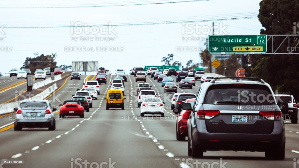 Traffic in Los Angeles. stock photo