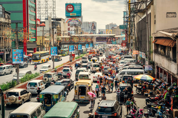 traffic in manila, philippines - philippines stock photos and pictures