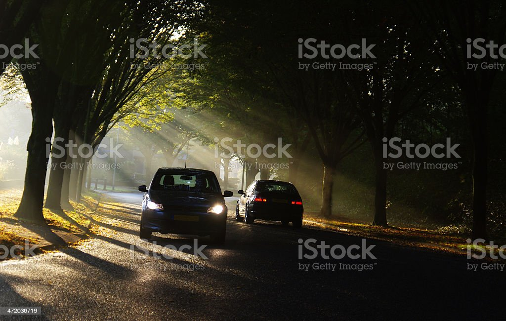 Traffic in morning silhouette royalty-free stock photo