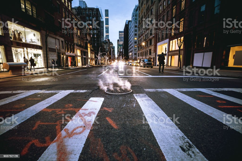 Traffic in New York city at night stock photo