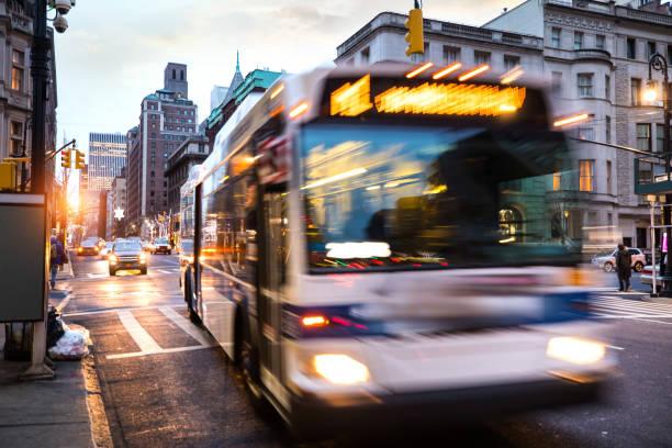 Traffic in New York city at night stock photo