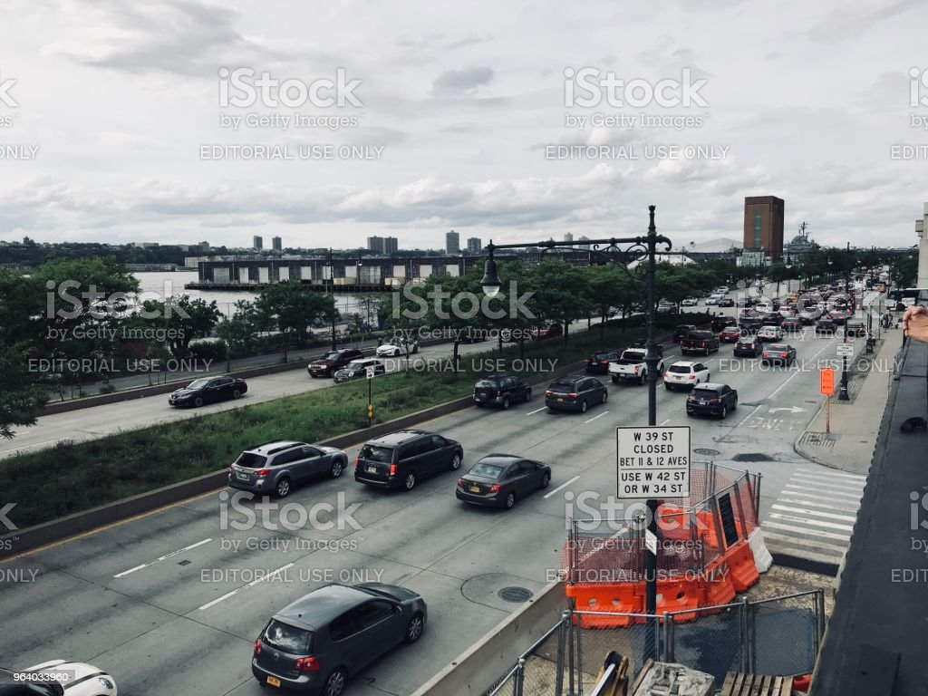 Traffic in New York - Royalty-free Aerial View Stock Photo