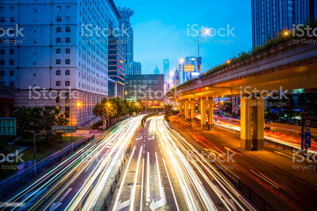 traffic in night royalty-free stock photo