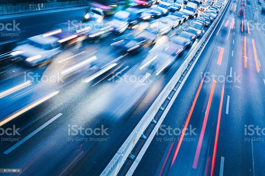 traffic in night, beijing china.