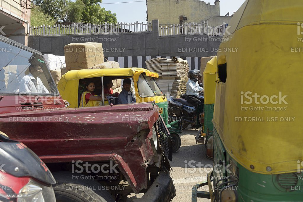 Traffic in old Delhi royalty-free stock photo