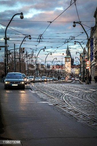 Prague, Czech Republic - January 28, 2019: Traffic in Prague. Photography taken at sunset.