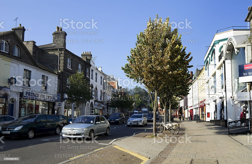 Traffic in Prince of Wales Road, Norwich royalty-free stock photo