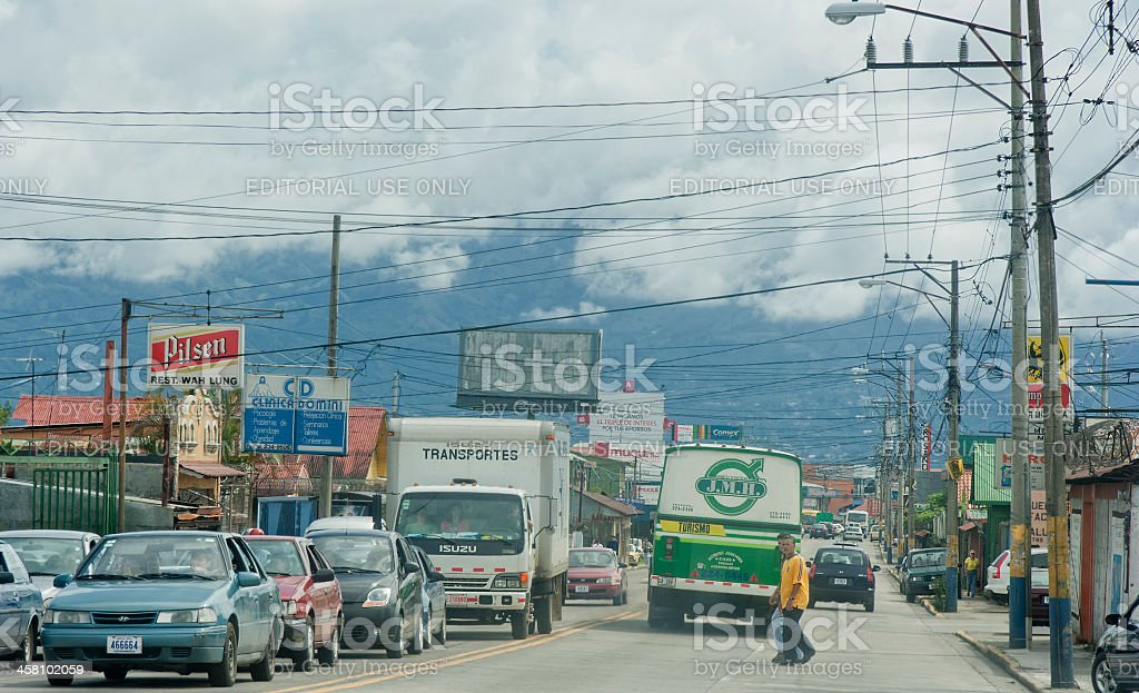 Traffic in San Jose, Costa Rica royalty-free stock photo