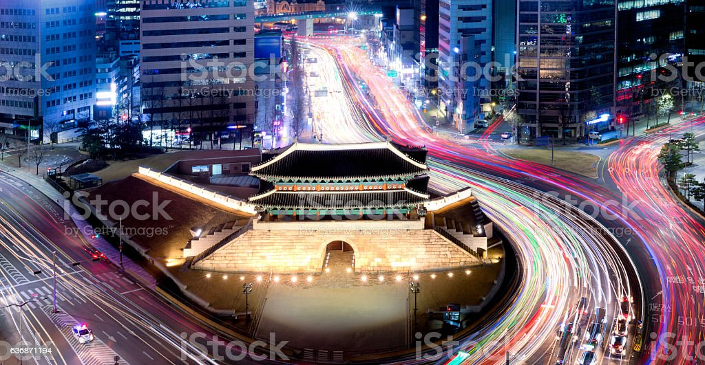Traffic in South Gate of Seoul, South Korea stock photo