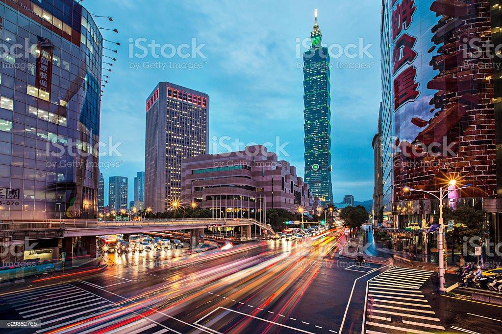 Traffic in Taipei stock photo