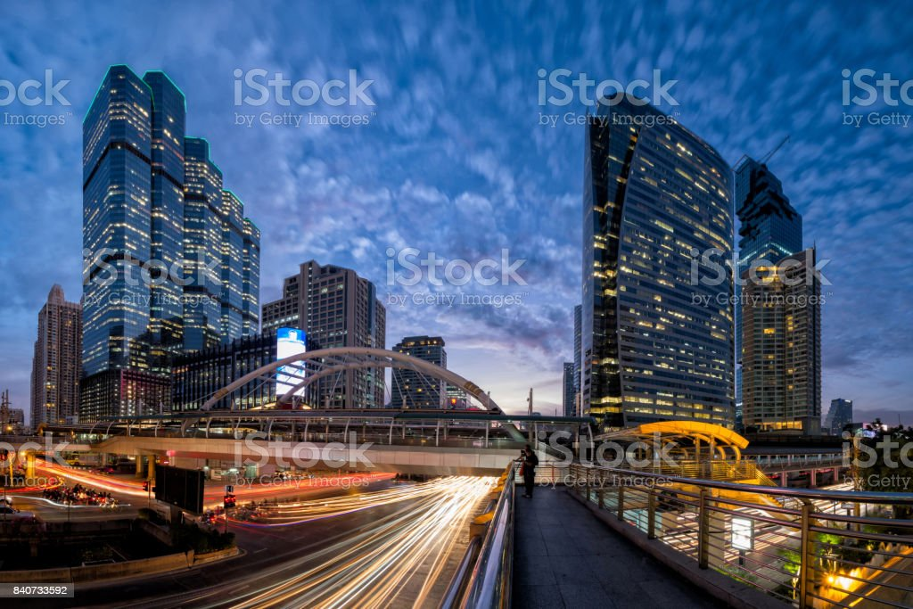 Traffic in the business district at night stock photo