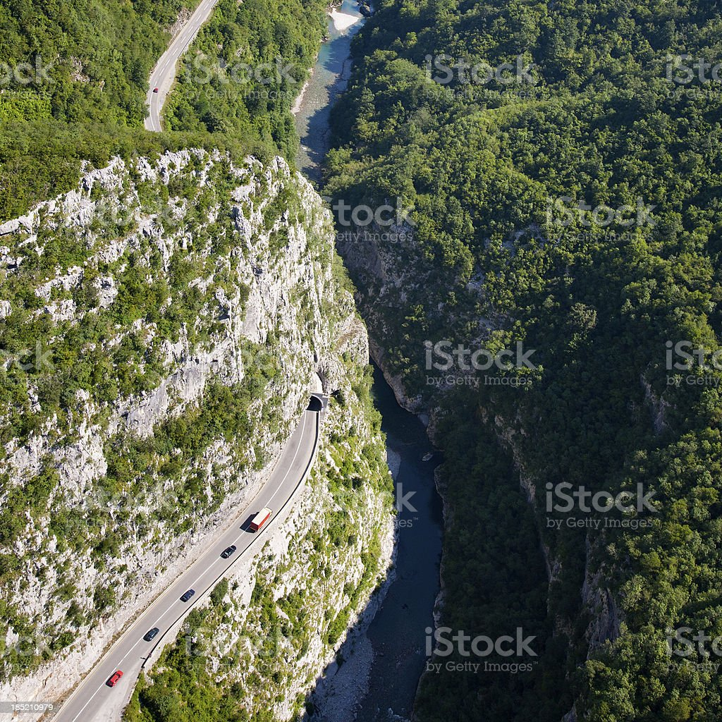 Traffic in the Canyon, aerial view stock photo