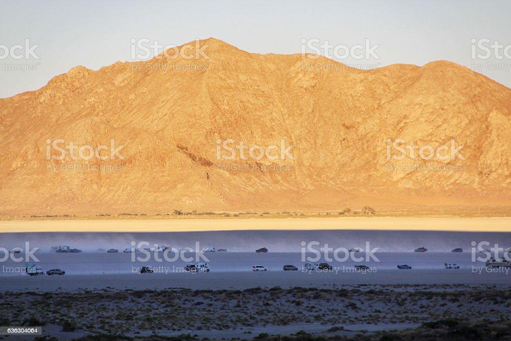 Traffic in the desert stock photo