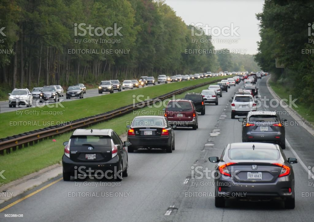traffic in the highway a few miles from Baltimore, Maryland stock photo