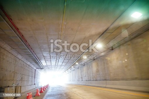 View mrom car with Motion blur tunnel perspective background,