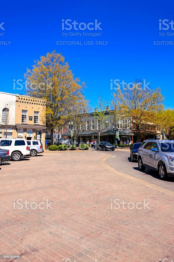 Traffic in the public Square in downtown Franklin, Tennessee stock photo