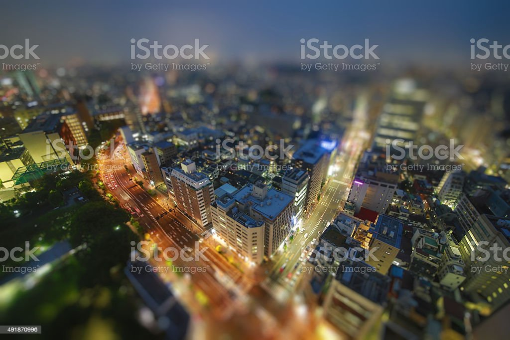 Traffic in Tokyo In The Night stock photo