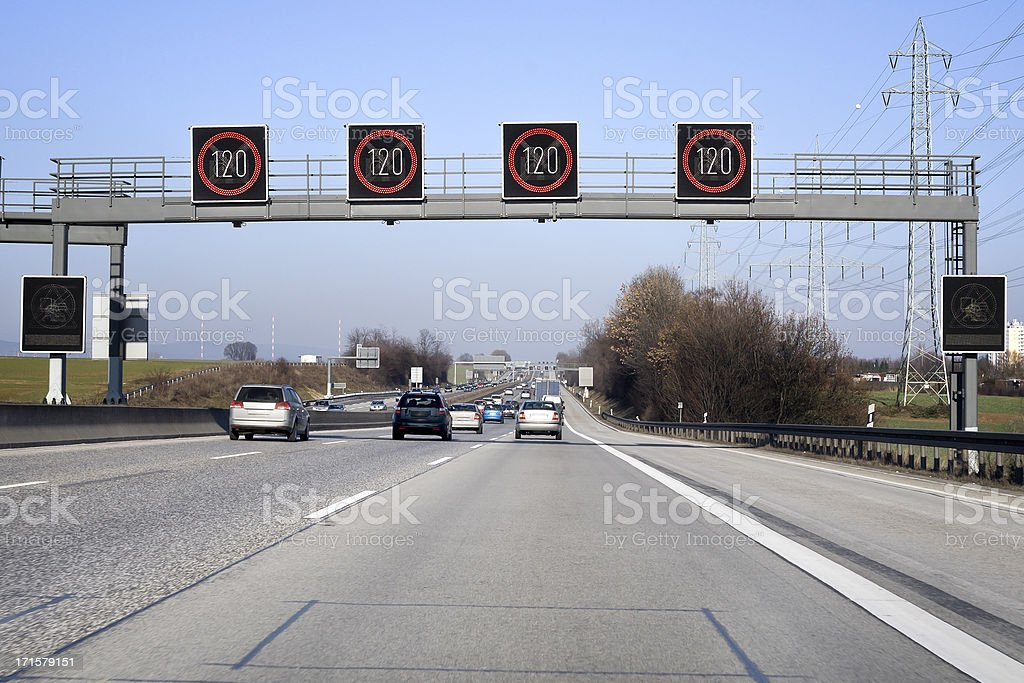 Traffic information system on highway- speed limit stock photo
