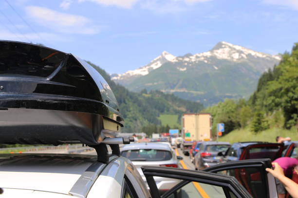 Traffic jam after an accident in the Gotthard tunnel stock photo