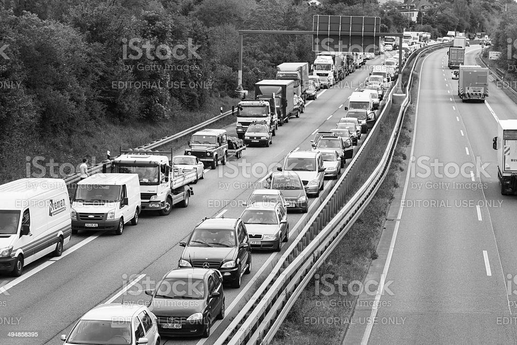 Traffic jam and emergency corridor royalty-free stock photo