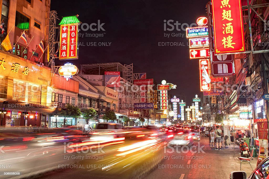 Traffic jam at evening on Yaowarat Road in Bangkok stock photo