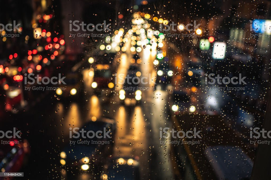 Traffic jam at night in rainy day