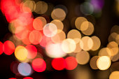 Abstract image of defocused lights from traffic.
