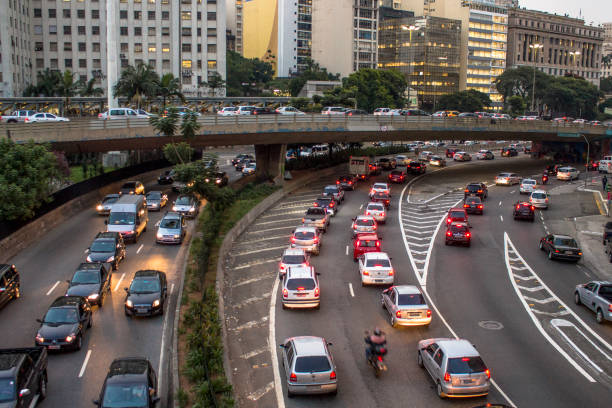 Traffic jam at rush hour in May 23 Avenue of downtown Sao Paulo stock photo