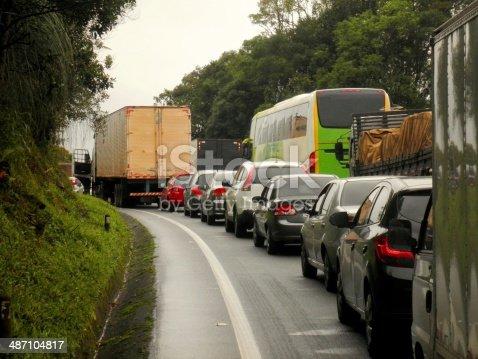 Traffic jam in Brazil countryside highway rural.
