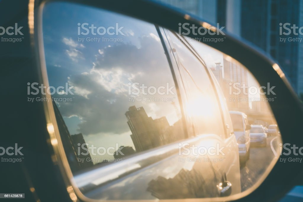 Traffic jam from driving mirror stock photo
