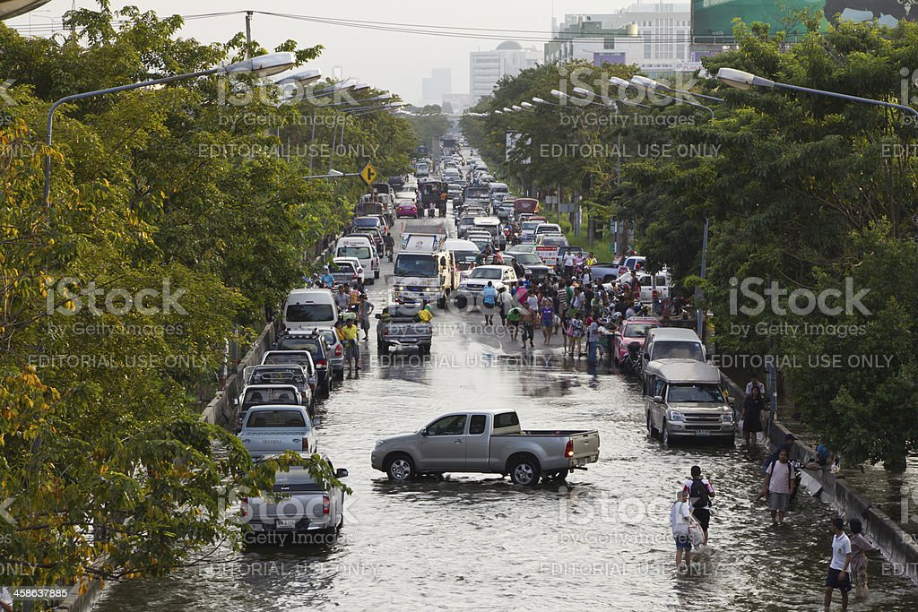 Traffic jam from flood situation. stock photo