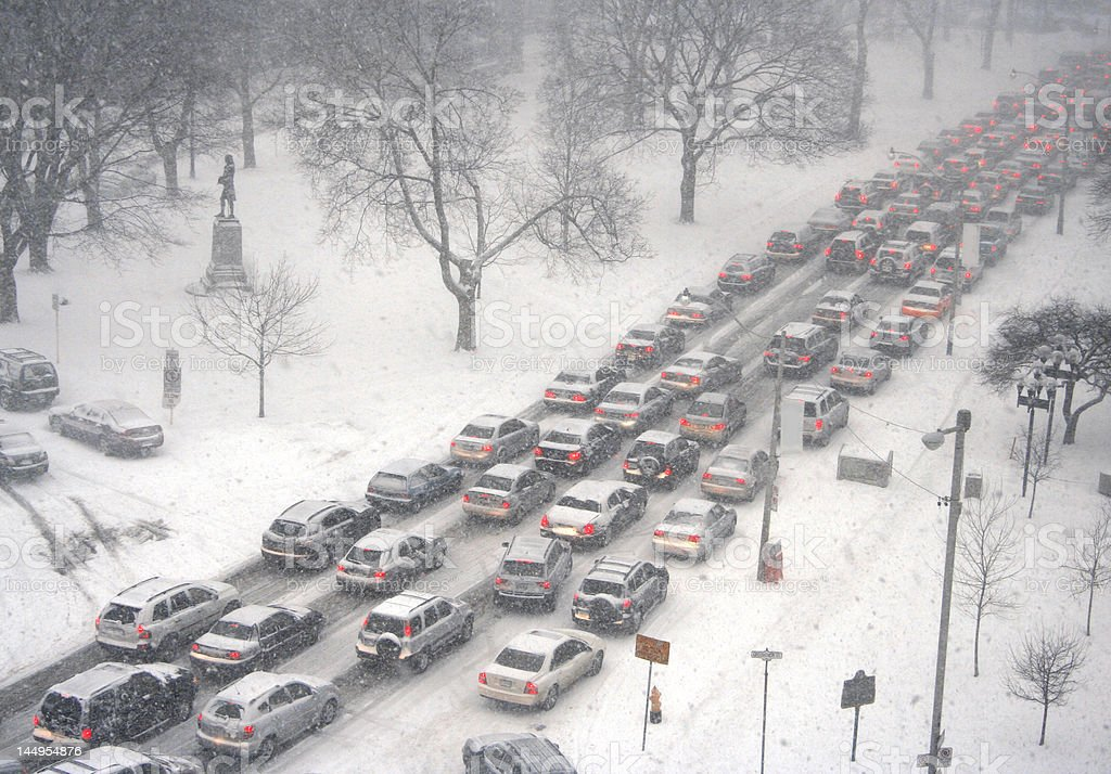 Traffic jam in a blizzard stock photo