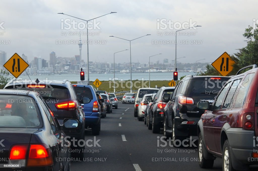 Traffic jam in Auckland, New Zealand. stock photo