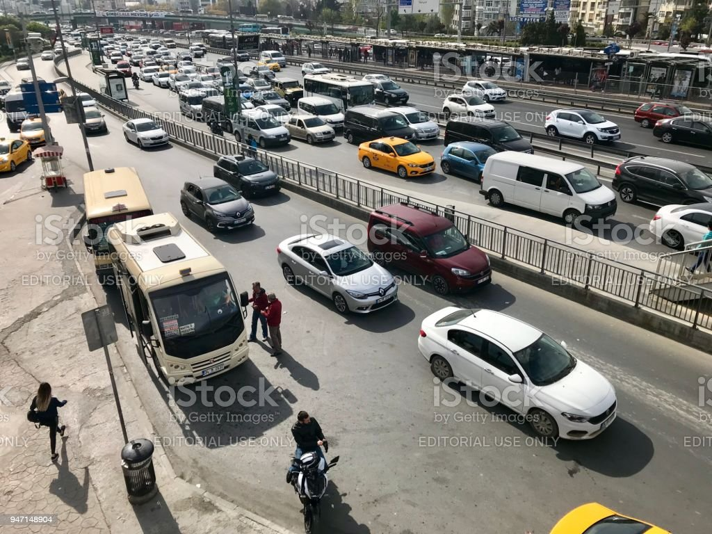 Traffic jam in Bahcelievler District stock photo