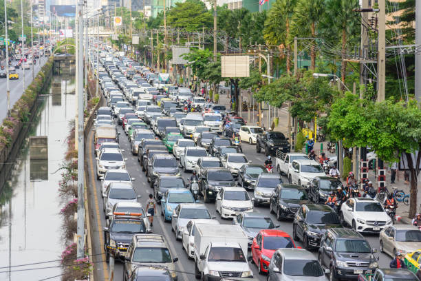 Traffic jam in Bangkok city in long weekend stock photo
