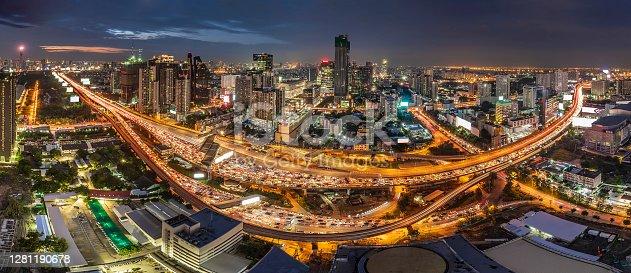 Traffic Jam in Bangkok with modern buldings background