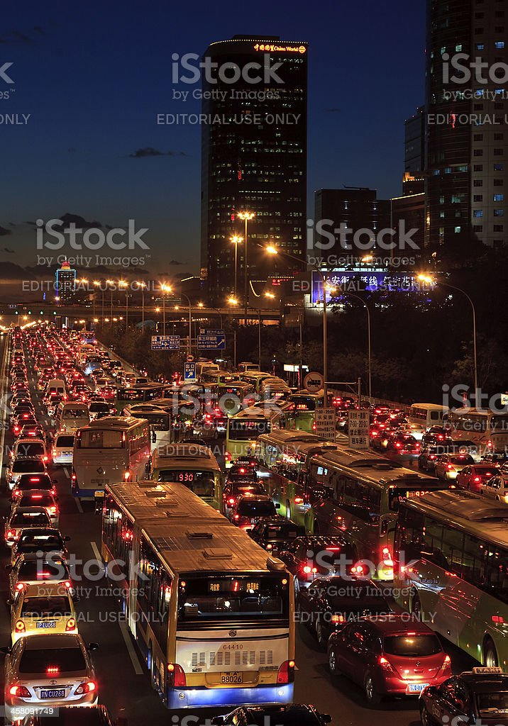 Traffic jam in Beijing's Central Business District at night royalty-free stock photo