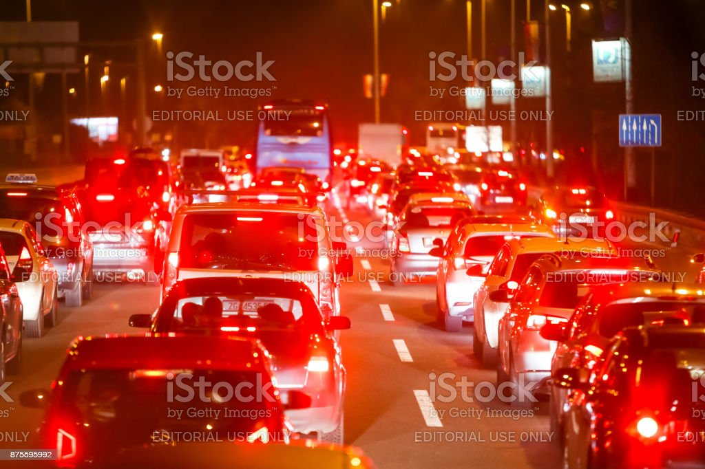 Traffic jam in city stock photo