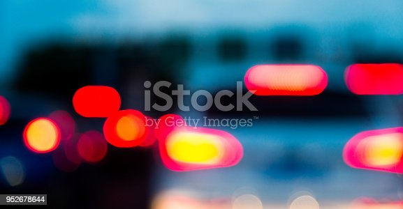 istock Traffic jam in city street at night 952678644