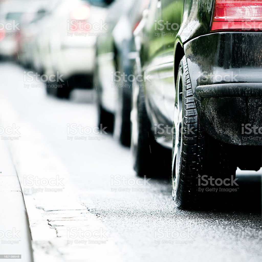Traffic jam in flooded highway cause rain royalty-free stock photo